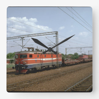 Yugoslavia, JZ electric loco_Trains of the World Square Wall Clock