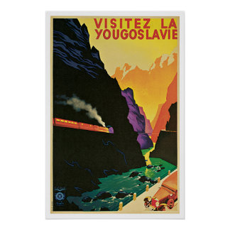 Yugoslavia, Yougoslavie Vintage Travel Poster