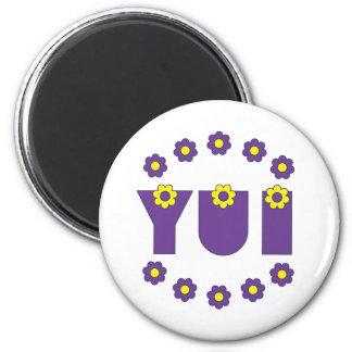 Yui in Flores Purple Fridge Magnets