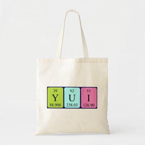 Yui periodic table name tote bag