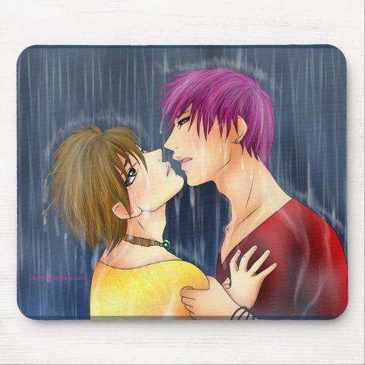 Yuki and Ren kiss in the rain mouse pad