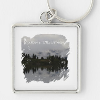 Yukon Heartbeat Monitor; Yukon Territory Souvenir Silver-Colored Square Keychain