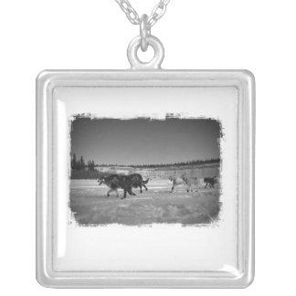 Yukon Quest Athletes Square Pendant Necklace