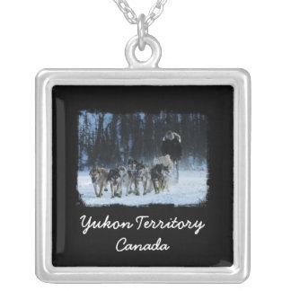 Yukon Quest Dogsled Team; Yukon Territory, Canada Square Pendant Necklace