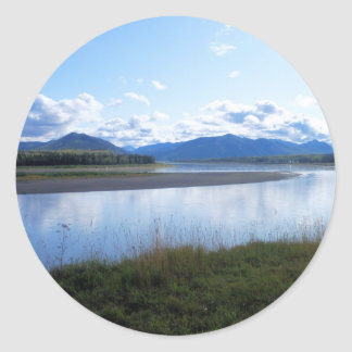 yukon river in eagle ak classic round sticker