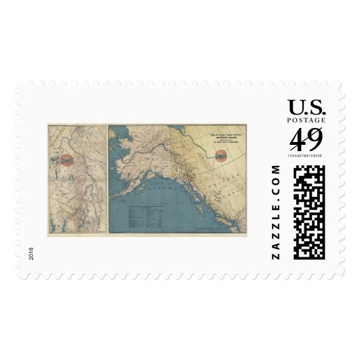 Yukon Territory Alaska Map 1904 Postage Stamps
