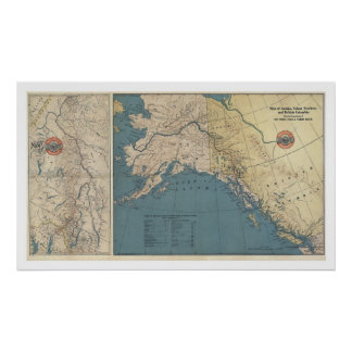 Yukon Territory Alaska Map 1904 Poster