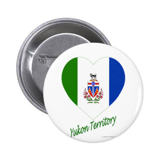Yukon Territory Flag Heart with Name 2 Inch Round Button