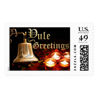Yule Bell & Candles with Pentagram Wreath - Stamp