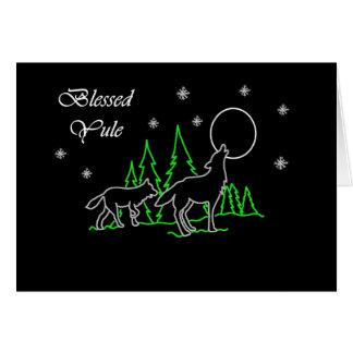 Yule bendecido Pagan con los lobos y la luna Tarjeta De Felicitación