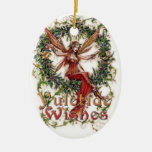 Yule Blessings: Hanging Decpration Double-Sided Oval Ceramic Christmas Ornament