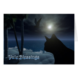 yule blessings with beach scenery cat and birds greeting cards