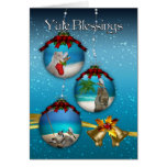 yule blessings with beach scenery cats and birds b greeting card