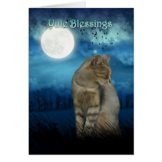 yule blessings with cat in the moonlight greeting card