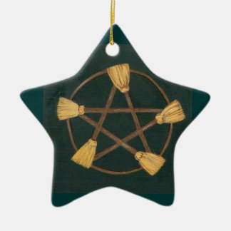 Yule Broom Pentagram Ceramic Ornament