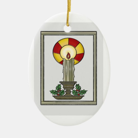Yule Candle Ceramic Ornament