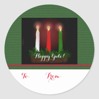 Yule Candles Winter Solstice Gift Labels Stickers