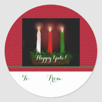 Yule Candles Winter Solstice Gift Labels Sticker