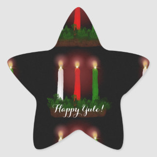 Yule Candles Winter Solstice Witch Wiccan Pagan Star Sticker