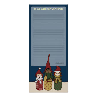 Yule Chorus, christmas wall planner Poster