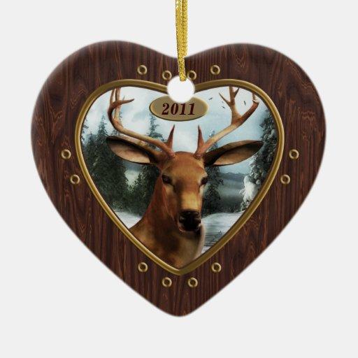 Yule Deer Buck Heart Ornament Personalized