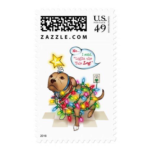 Yule Dog Postage Stamp