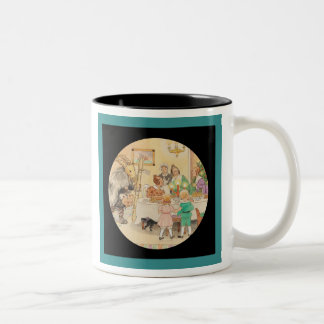 Yule Goat at the Dinner Table Two-Tone Coffee Mug
