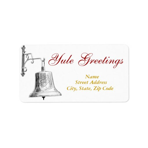 Yule Greetings & Silver Bell - Shipping Label #1