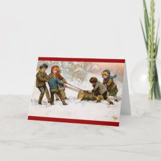 Yule Log Christmas card card