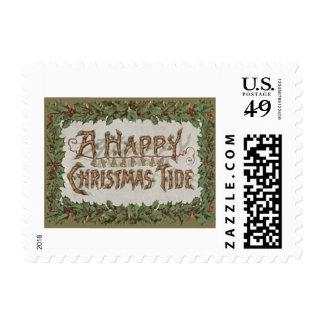 Yule Log Holly Bells Christmas Tide Postage Stamp