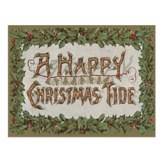 Yule Log Holly Bells Christmas Tide Postcard