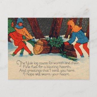 Yule Log postcard