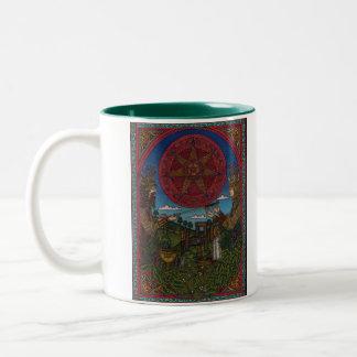 Yule One, Holly King Oak King 002, Raise a toas... Two-Tone Coffee Mug