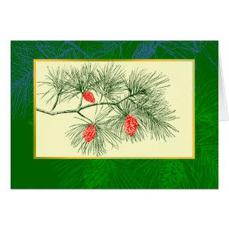 Yule Pine Branch Vintage Art Greeting Card