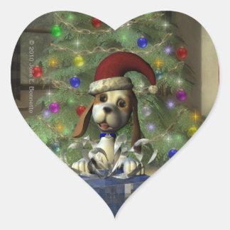 Yule Puppy Heart Sticker