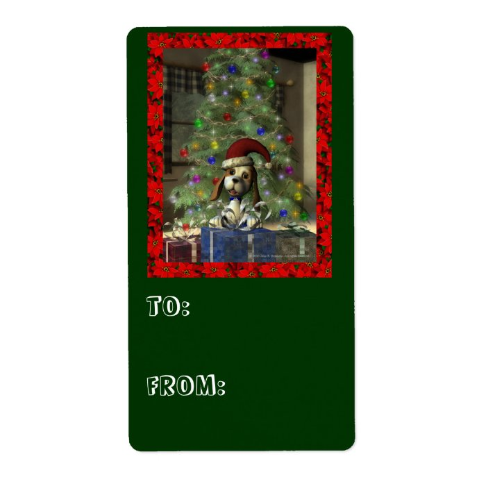 Yule Puppy Large Gift Tag Label