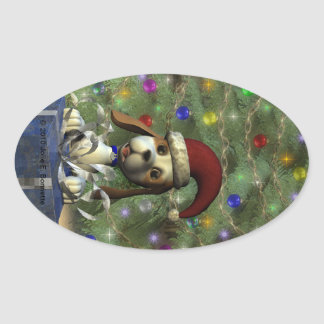 Yule Puppy Oval Sticker