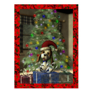 Yule Puppy Postcard