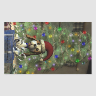 Yule Puppy Rectangle Sticker