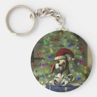 Yule Puppy Round Keychain