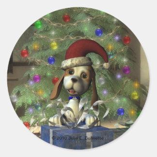 Yule Puppy Round Sticker