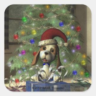 Yule Puppy Square Sticker