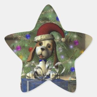 Yule Puppy Star Sticker