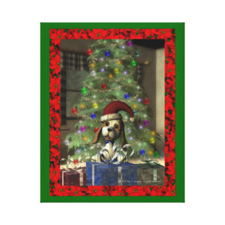 Yule Puppy Wrapped Canvas
