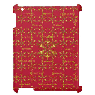 Yule Red & Gold Snowflakes in 23 Languages Cover For The iPad