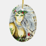 Yule Snow Goddess Double-Sided Oval Ceramic Christmas Ornament