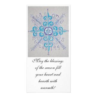 Yule Snowflake Goddess Photo Postcard Photo Card Template