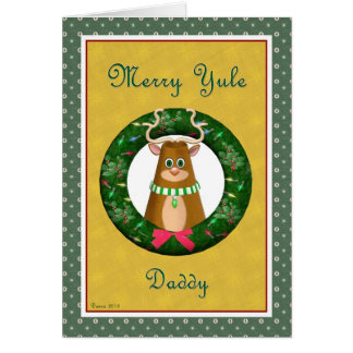 Yule Stag Wreath for Daddy Card