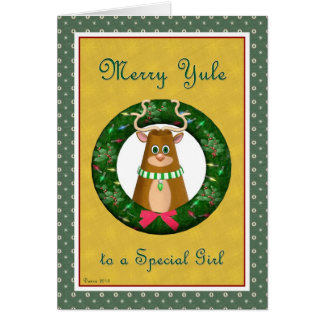 Yule Stag Wreath for Special Girl Card