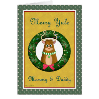 Yule Stag Wreath Mommy and Daddy Card